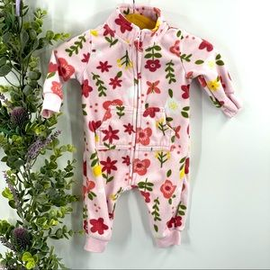 Carter's | Pink Floral Fleece Bodysuit, 3M